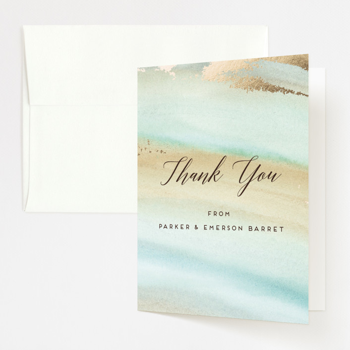 """Beautiful Earth"" - Foil-pressed Thank You Cards in Mint Gemstone by Petra Kern."