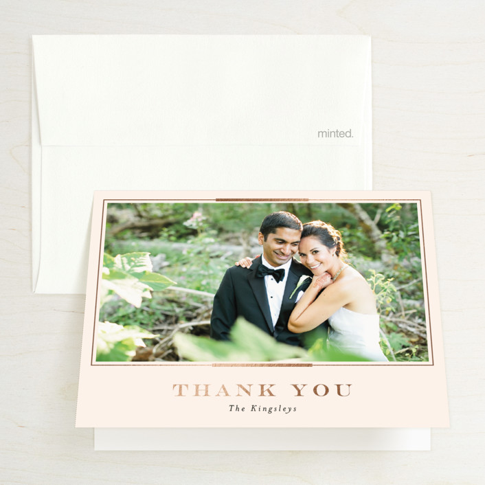 """""""Cambridge"""" - Foil-pressed Folded Thank You Card in Ivory by Meagan Christensen."""