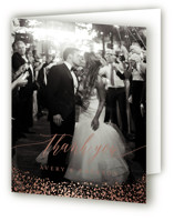 This is a beige wedding thank you card by Kristie Kern called Aspen with foil-pressed printing on strathmore in standard.
