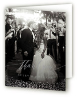 This is a pink wedding thank you card by Kristie Kern called Aspen with foil-pressed printing on strathmore in standard.
