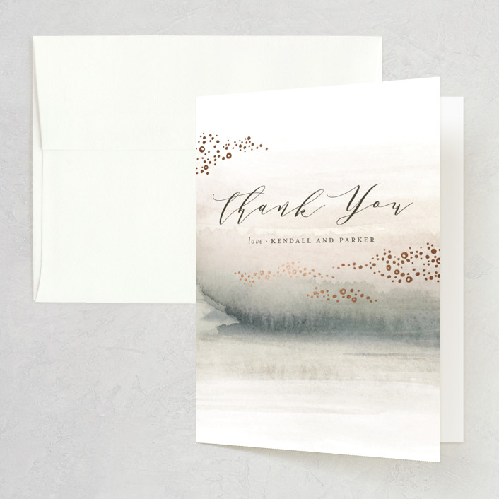 """""""OCEANS"""" - Foil-pressed Folded Thank You Card in Ocean by Wildfield Paper Co.."""