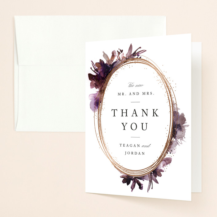 """Shimmer"" - Foil-pressed Folded Thank You Card in Mauve by Lori Wemple."