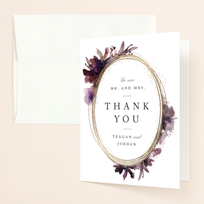 """""""Shimmer"""" - Foil-pressed Folded Thank You Card in Mauve by Lori Wemple."""