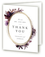 This is a purple wedding thank you card by Lori Wemple called Shimmer with foil-pressed printing on strathmore in standard.