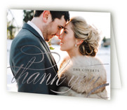 This is a white wedding thank you card by Carrie ONeal called Filigree with foil-pressed printing on strathmore in standard.