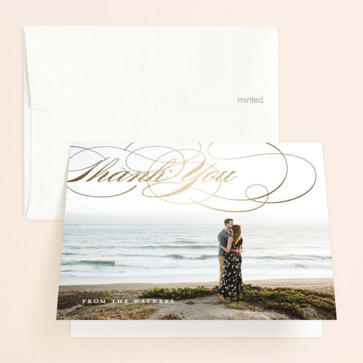 """""""We Do."""" - Foil-pressed Folded Thank You Card in Gold by Eric Clegg."""