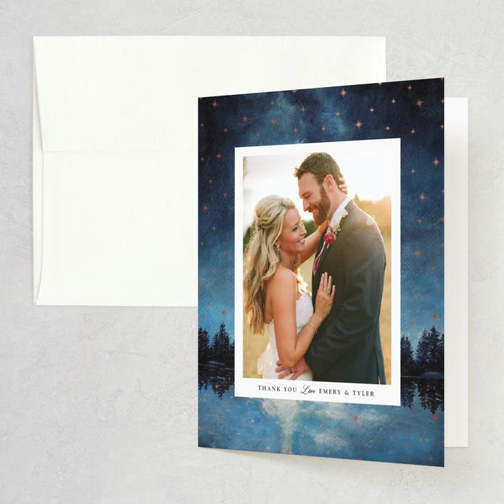 """""""Stellar"""" - Foil-pressed Thank You Cards in Midnight by Elly."""
