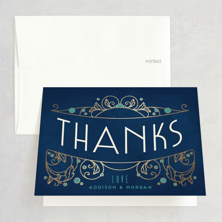 """Ornate Deco"" - Foil-pressed Thank You Cards in Gold by GeekInk Design."