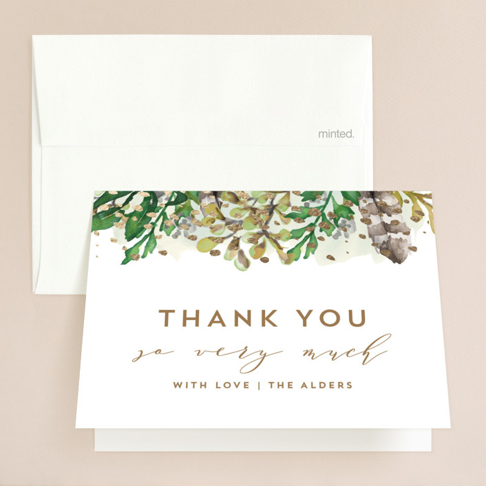"""""""Bohemian Beauty"""" - Foil-pressed Folded Thank You Card in Garden by AK Graphics."""