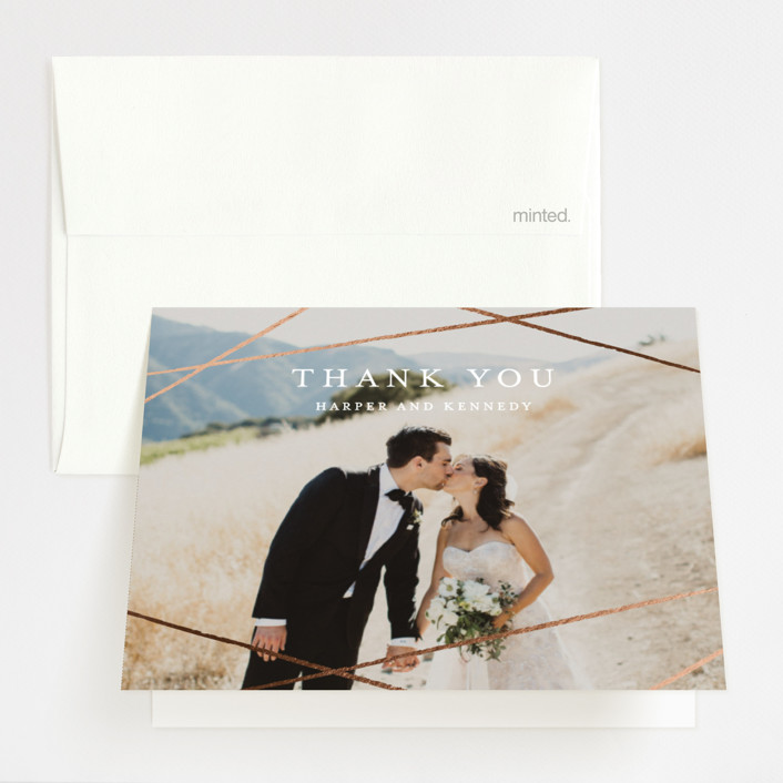 """""""Abstract Elegant"""" - Foil-pressed Folded Thank You Card in Rose by Belia Simm."""