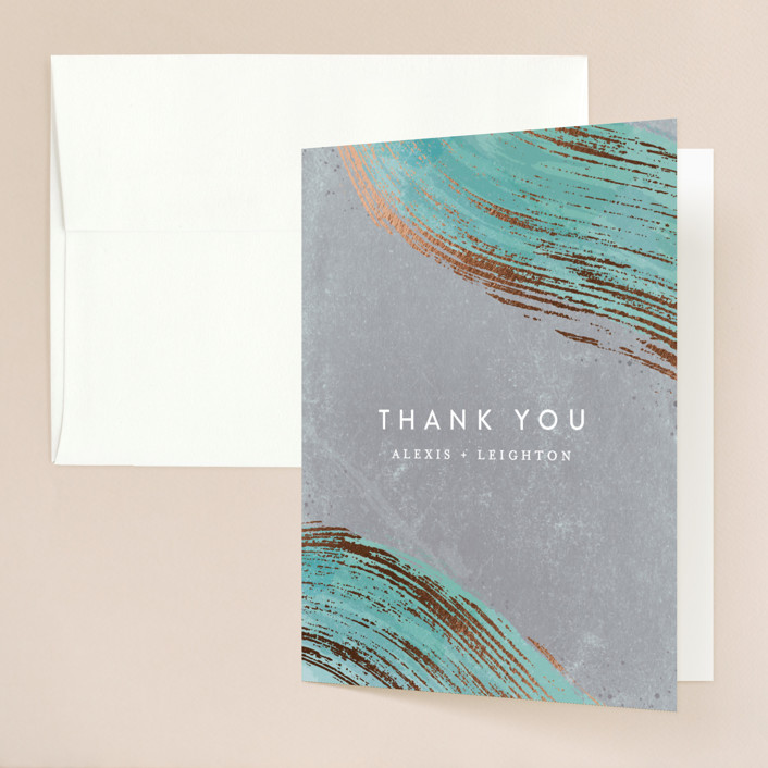 """Abstract Splendor"" - Foil-pressed Folded Thank You Card in Turquoise by Hooray Creative."