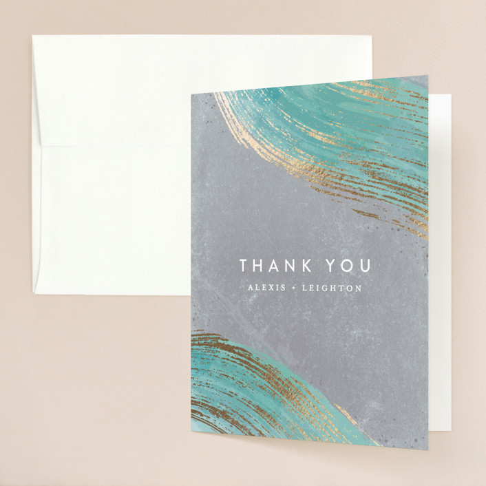 """""""Abstract Splendor"""" - Foil-pressed Thank You Cards in Turquoise by Hooray Creative."""