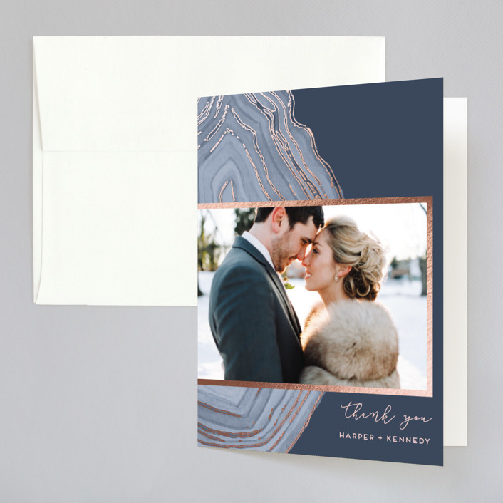 """""""Modern Agate"""" - Foil-pressed Folded Thank You Card in Navy by Kaydi Bishop."""