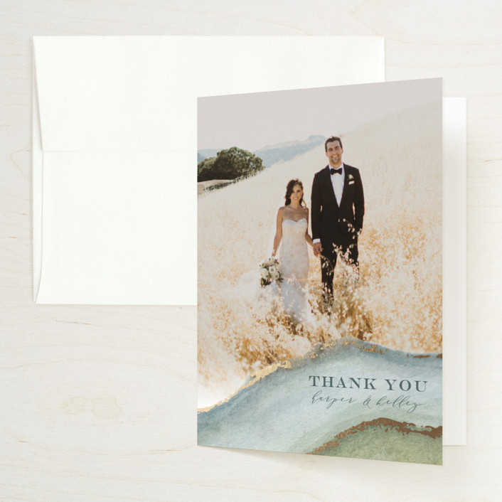 """""""Coastal Lines"""" - Bohemian Foil-pressed Thank You Cards in Moss by Grace Kreinbrink."""