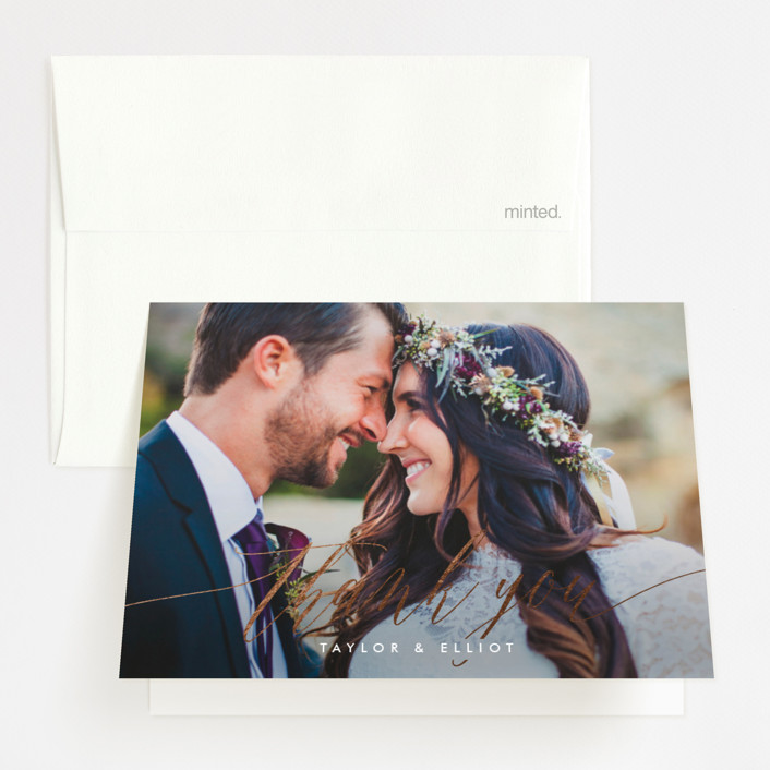 """""""Effervescent"""" - Foil-pressed Folded Thank You Card in Blush by Kristie Kern."""