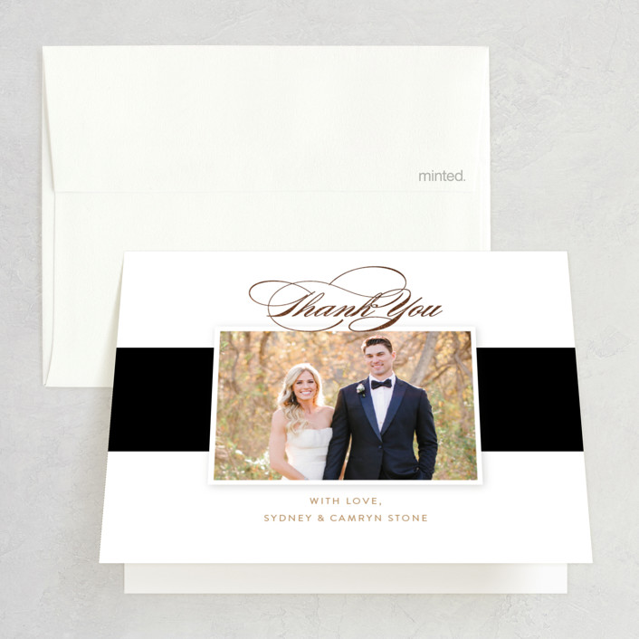"""""""Fashion District"""" - Foil-pressed Folded Thank You Card in Black Tie by Jill Means."""