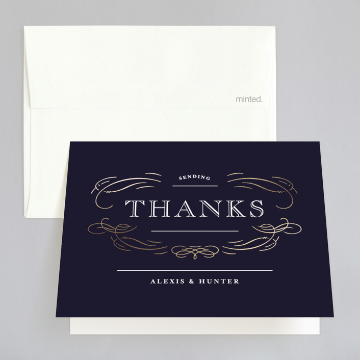 """Elegant Flourishes"" - Foil-pressed Thank You Cards in Navy by Kristen Smith."