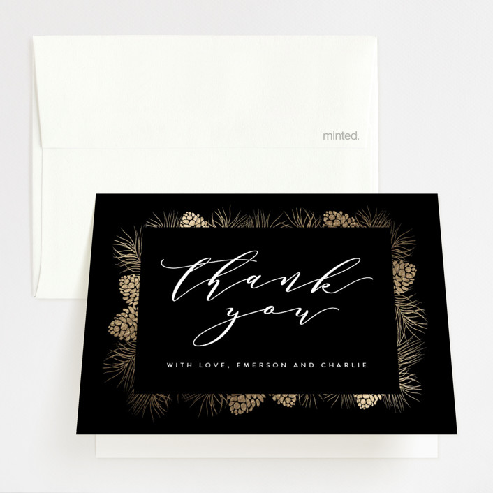 """""""Golden pine"""" - Foil-pressed Thank You Cards in Charcoal by Angela Thompson."""