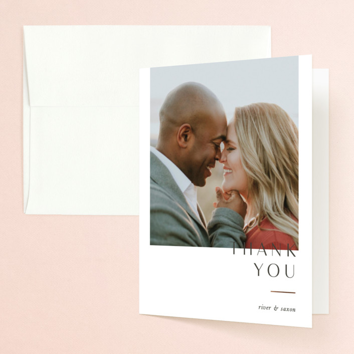 """""""Accent"""" - Foil-pressed Folded Thank You Card in Cotton by Blustery August."""