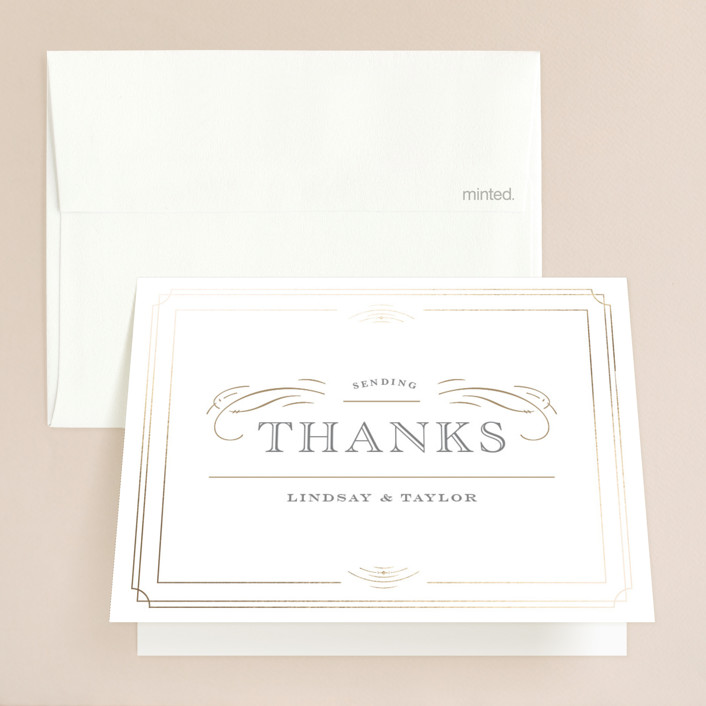 """Gilded Gala"" - Foil-pressed Thank You Cards in Mist by Kristen Smith."