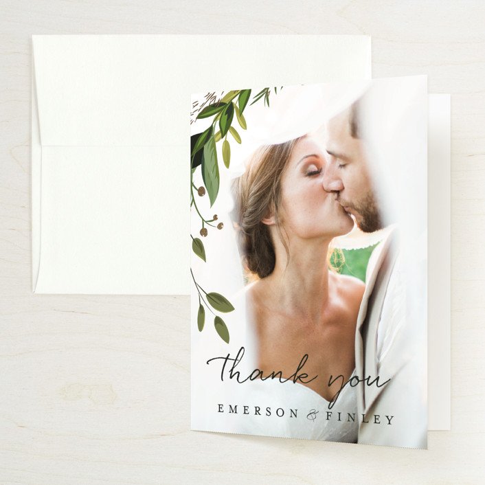"""""""Vines of Green"""" - Foil-pressed Folded Thank You Card in Fern by Susan Moyal."""