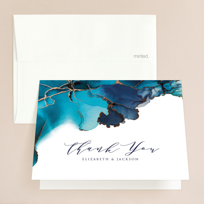 """Modern Tide Pools"" - Modern Foil-pressed Folded Thank You Card in Turquoise by Erin Deegan."