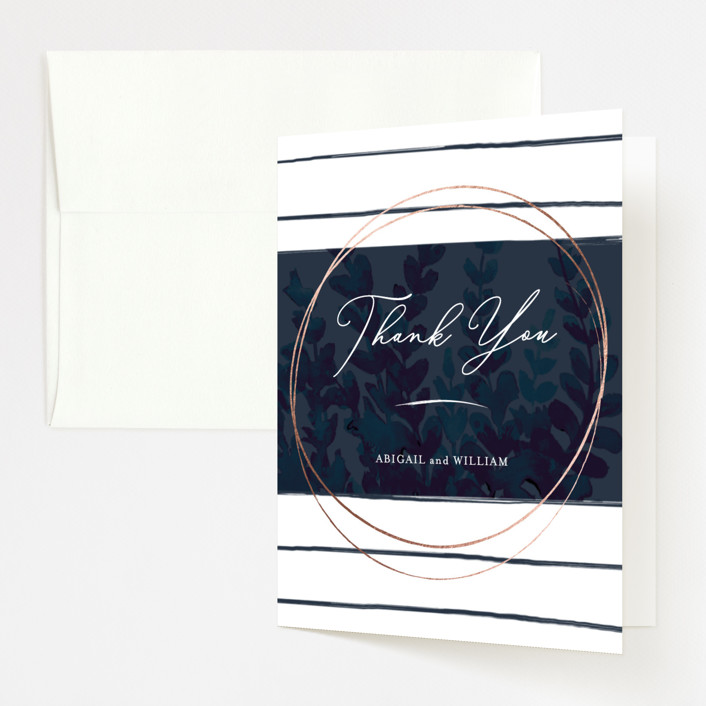 """""""Sprigs of Romance"""" - Modern Foil-pressed Folded Thank You Card in Royal by Papernoten."""