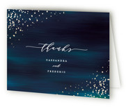 This is a blue wedding thank you card by Ana Sharpe called Cosmic with foil-pressed printing on strathmore in standard.