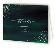 This is a green wedding thank you card by Ana Sharpe called Cosmic with foil-pressed printing on strathmore in standard.