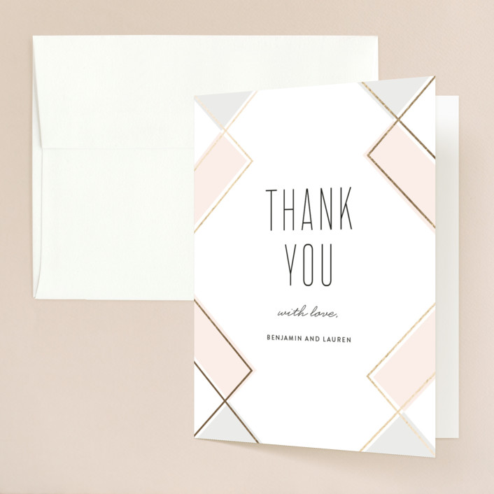 """Soft Glass"" - Modern Foil-pressed Thank You Cards in Blush by Erica Krystek."