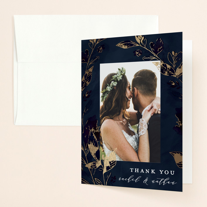 """""""Midnight Vines"""" - Foil-pressed Folded Thank You Card in Navy by Grace Kreinbrink."""