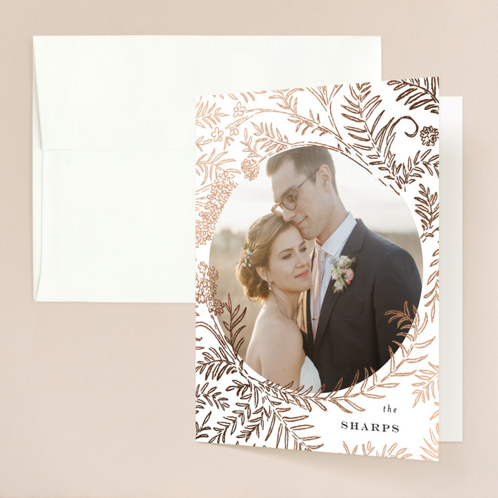 """""""Lacy Meadow Ovals"""" - Foil-pressed Folded Thank You Card in Gold Leaf by Shiny Penny Studio."""