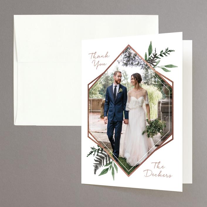 """""""Shade Garden"""" - Foil-pressed Folded Thank You Card in Leaf by Robin Ott."""