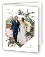 This is a grey wedding thank you card by Robin Ott called Shade Garden with foil-pressed printing on strathmore in standard.