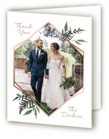 This is a green wedding thank you card by Robin Ott called Shade Garden with foil-pressed printing on strathmore in standard.