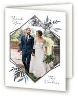 This is a blue wedding thank you card by Robin Ott called Shade Garden with foil-pressed printing on strathmore in standard.