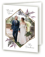 This is a purple wedding thank you card by Robin Ott called Shade Garden with foil-pressed printing on strathmore in standard.