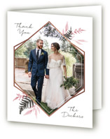 This is a pink wedding thank you card by Robin Ott called Shade Garden with foil-pressed printing on strathmore in standard.