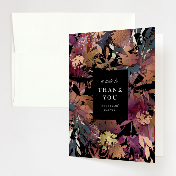 """""""Fantasy"""" - Foil-pressed Folded Thank You Card in Noir by Lori Wemple."""