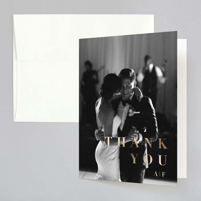 """""""Modern Abstract"""" - Modern Foil-pressed Thank You Cards in Navy by Four Wet Feet Studio."""