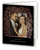 This is a black wedding thank you card by Angela Marzuki called Bravura with foil-pressed printing on strathmore in standard.