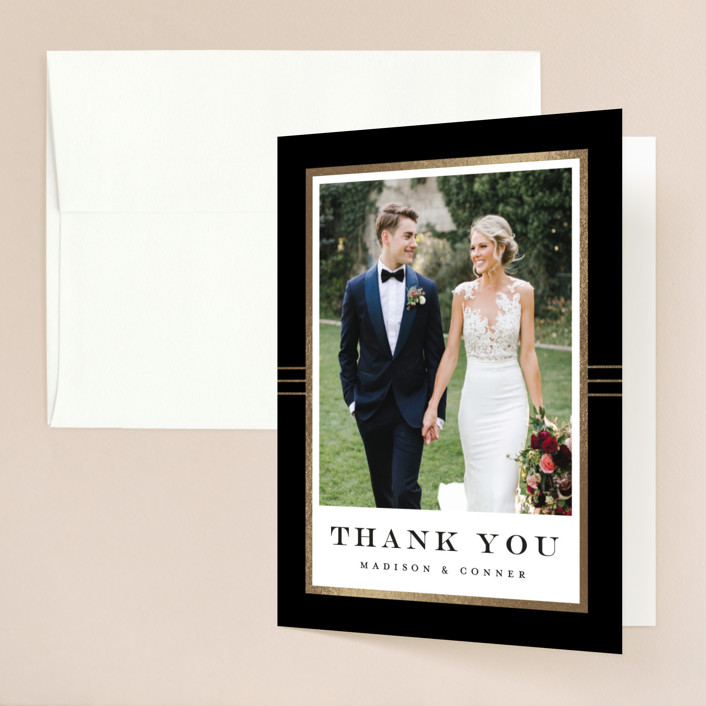 """""""Distinguished Frame"""" - Foil-pressed Thank You Cards in Onyx by Stacey Meacham."""