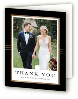 This is a gold wedding thank you card by Stacey Meacham called Distinguished Frame with foil-pressed printing on strathmore in standard.