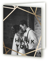 This is a black wedding thank you card by Poi Velasco called Gilded Concrete with foil-pressed printing on strathmore in standard.