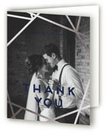 This is a blue wedding thank you card by Poi Velasco called Gilded Concrete with foil-pressed printing on strathmore in standard.