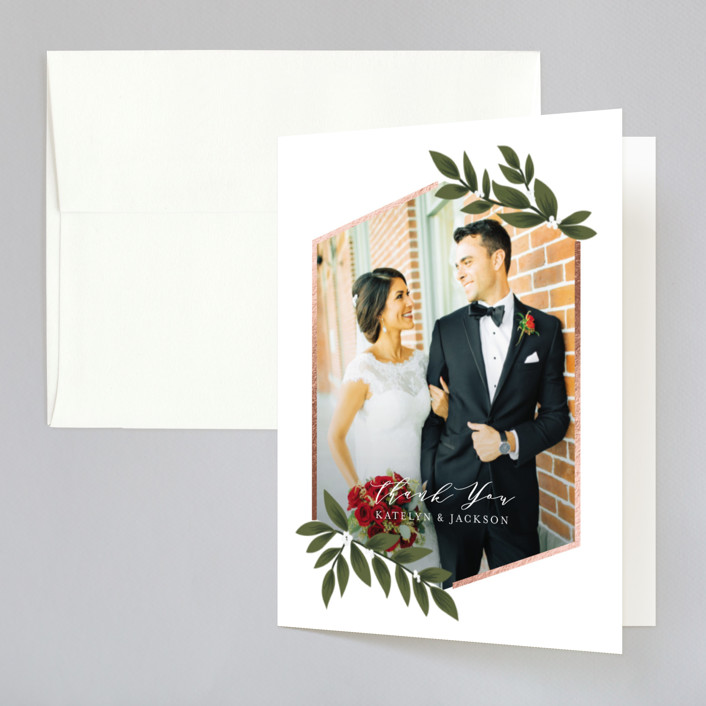 """""""Laurels Frame"""" - Foil-pressed Folded Thank You Card in Greenery by Itsy Belle Studio."""