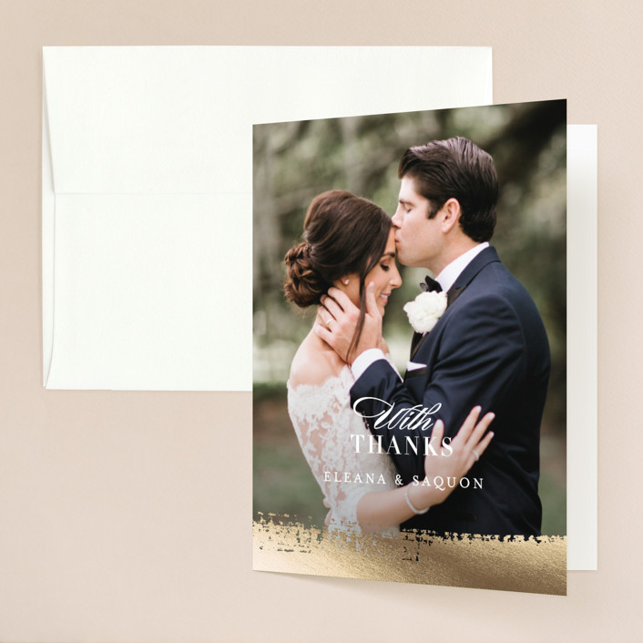"""Never ending"" - Bohemian Foil-pressed Folded Thank You Card in Blush by Jennifer Wick."