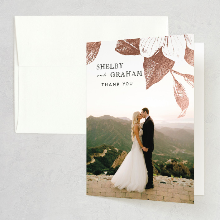 """""""The Land of Magnolias"""" - Foil-pressed Folded Thank You Card in Blush by Design Lotus."""
