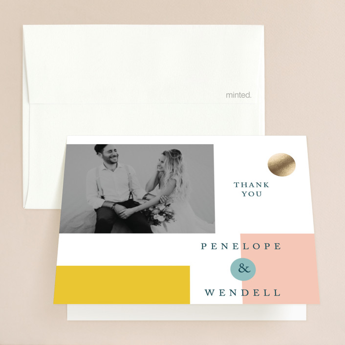 """""""Paradigm Pair"""" - Modern Foil-pressed Thank You Cards in Butterscotch by CeCe Fields."""