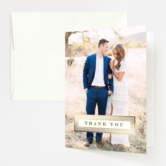 """""""Entredeux"""" - Modern Foil-pressed Thank You Cards in Royal by Kimberly Morgan."""